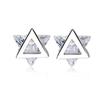 VICHOK 925 Sterling Silver romantic cute star stud earrings vintage style fashion fine jewelry for women Wedding Party 2 colors