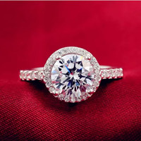 Cubic Zirconia Ring Sterling Silver Ring Halo Ring Engagement Ring Wedding Jewelry Bridal Jewelry CZ Jewelry CZ Ring Promise Ring