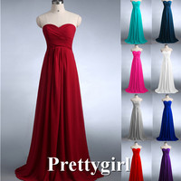 0039 wine red colored chiffon strapless prom party dresses new fashion 2013 bridesmaid dress long
