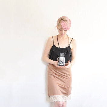 bronze half slip skirt . vintage vanity fair . bows and lace .large
