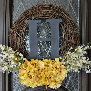 Spring Wreath, Hydrangea Wreath, Yellow Spring Wreath, Personalized Spring Wreath, Gray and Yellow Spring Wreath, Easter Wreath