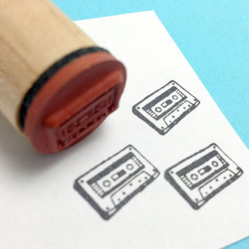 Mix Tape Retro 70s 80s Tape Cassette Rubber Stamp