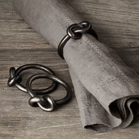 Hand-Forged Knot Napkin Rings (Set of 4) - Blackened