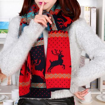 Winter Bohemia Christmas deer Wool Scarf men women Fashion Street Shoot Double sided Knitting Scarf Hot sale Party Gift F1216