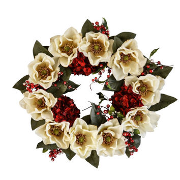 White Christmas Magnolia Wreath | Holiday Wreath | Front Door Wreaths | Magnolia Leaf | Hydrangea Wreath | Christmas Decorations