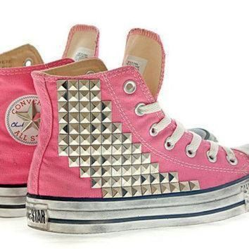 CREYON studded converse pyramid studs with converse pink high top by customduo on etsy
