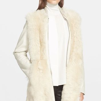 Women's Vince Long Shearling Bomber Coat,