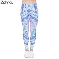 Zohra Women Legging Mandala Printing Fresh Blue Fashion Bottoms Sexy High Waist Leggings Fitness Women Pants