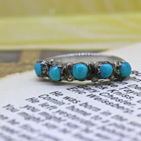 Vintage Turquoise Stacking Ring | Silver Wedding Band | Dainty Stackable Band | Gemstone Promise Ring | 1970s Boho Gypsy Jewelry | Size 4.5