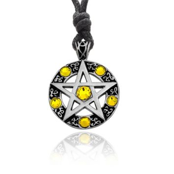 Color Pentagram Silver Pewter Gold Brass Charm Necklace Pendant Jewelry