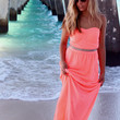Padre Island Coral Tube Maxi Dress