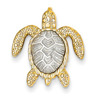 14k Two-tone White & Yellow Gold Turtle Pendant Slide K4881