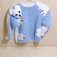 Kids Sweater,  Pullover Bulky Blue White Yarn 3D Bear Intarsia, Spring Wear Hand Knit