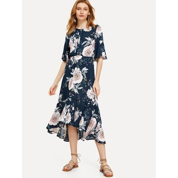 Multicolor Half Placket Flounce Hem Botanical Dress