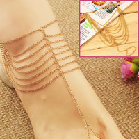 1PC Celebrity Simple Plated Multi Chain Ankle Bracelet