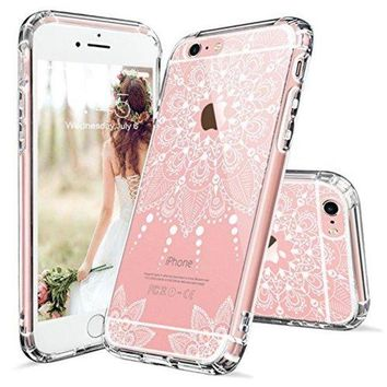 ONETOW iPhone 6s Case, iPhone 6 Clear Case, MOSNOVO White Henna Mandala Floral Lace Clear Design Printed Transparent Plastic with TPU Bumper Protective Back Phone Case Cover for Apple iPhone 6/6s (4.7 Inch)