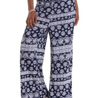 Navy Combo Damask Print High-Waisted Palazzo Pants by Charlotte Russe