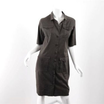 Sugar Products Olive Brown Military Style Button Front Dress Sz FR 40 US 8