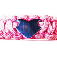 550 Paracord Bracelet with Engraved Stainless Steel Heart Shaped ID Tag