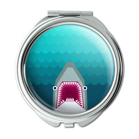 Geometric Shark Blue Compact Purse Mirror