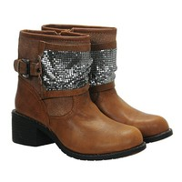 Vintage Distressed Sequined Stacked Ankle Boots for Women