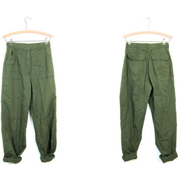 Army Green 70s Army Pants High Waist Green Mens Trousers Military Pants SMALL FIT Womens Grunge Commander Jeans Utility Work Pants Womens XS