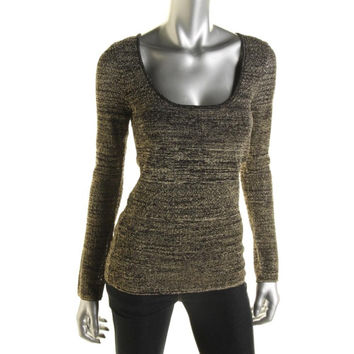 Catherine Malandrino Womens Metallic Long Sleeves Pullover Sweater