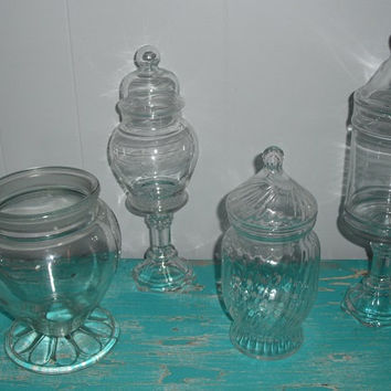 4 upcycled Candy Buffet Jars ~~ Glass Apothecary jars ~ Perfect for Wedding or Special Party