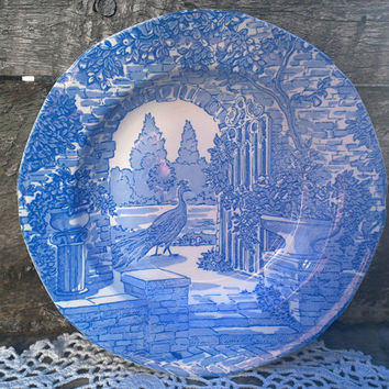 "BOWL, SHALLOW, Blue Transferware Burgess and Leigh ~ Stoke on Trent Bowl  8 1/2"" ~ ""Secret Garden"" ~ Made in England"