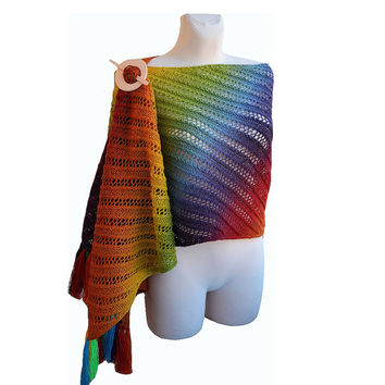Rainbow scarf warm lovely chic elegant unique