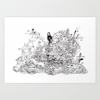 Hayao Miyazaki Doodle Tribute Art Print by Kerby Rosanes