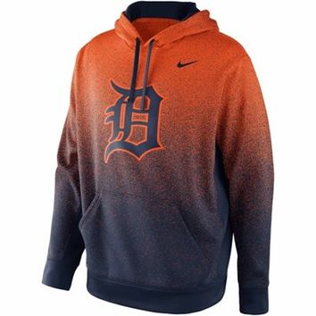 Nike Detroit Tigers Mezzo Fade Performance Hoodie - Orange/Navy Blue