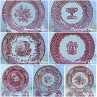 Vintage Cranberry Spode assorted set of 12 Victorian Series