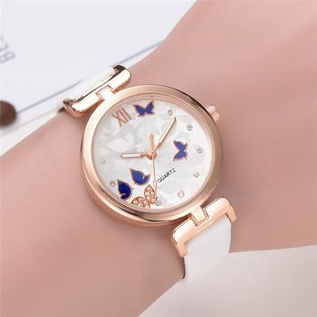 Fashion Butterfly Style Leather Analog Watches