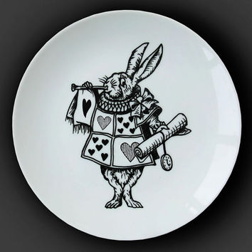 Illustrated ceramic plate, Black and White Pen and Ink Alice in Wonderland drawing - The White Rabbit