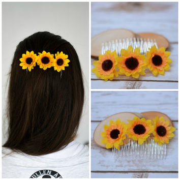 Flower Girl Hair Clip Comb Sunflower Hair Barrette Hair accessories Sunflower Clip Wedding