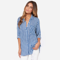 Popular Trending Cute Sexy Casual Boyfriend Style Women Chiffon Blue Long Sleeve Plaid Shirt Blouse Top _ 3363