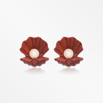 A Pair of Mother of Pearl Handcarved Wood Earring Stud