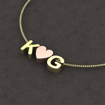 Gold initial necklace - small necklace, everyday necklace, simple necklace, k necklace, thin necklace, charm necklace goodluckdesign