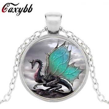 Caxybb 2017 Blue Dragon Necklace Handmade glass dome Jewelry Long art Photo Necklace Charm Fantasy wing Dragon Jewelry