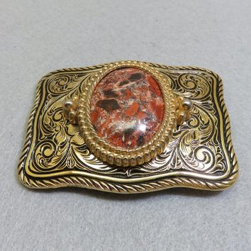 Vintage Red Jasper Belt Buckle, Western Style, Mint Never Used