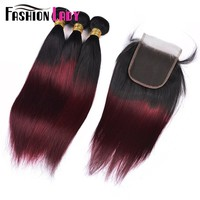 FASHION LADY Pre Colored 100% Human Hair Weave Ombre Color T1B/99J Straight Brazilian Hair 3 Bundles With Lace Closure Non Remy-in Pre-Colored One Pack from Hair Extensions & Wigs on Aliexpress.com | Alibaba Group