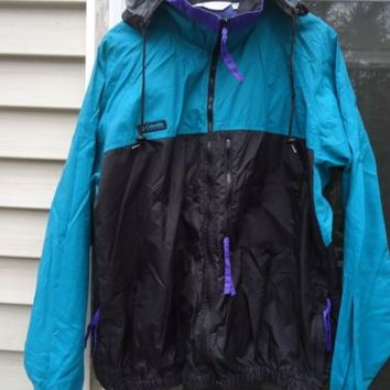 COLUMBIA MEN'S L  ZIPPER JACKET VINTAGE, VERY GOOD, PACKABLE COLORFULL FREE SHIP