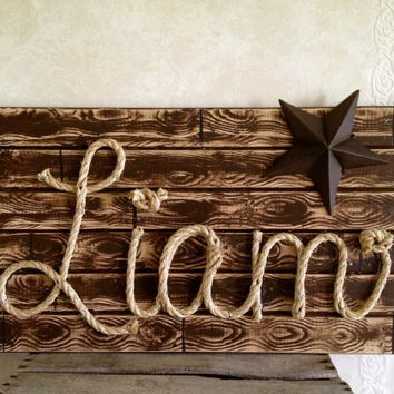"LIAM: 27"" Western Rope Name Sign Cowboy Theme Room Nursery - Brown Wood Grain Finish- (001)"