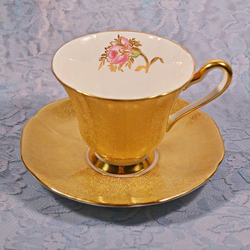 FREE SHIPPING Tuscan Bone China Cup And Saucer, Gold Swirl And Rose Pattern, D1209