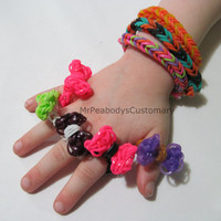 Bow and Fishtail Rainbow Loom Rings - Jewelry Party Favor Birthday Kids Teenage Style Women's Trending Gift Idea Pink Black Bands
