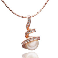 Lady's Brass Rose Gold Plated Stairway to Heaven Pendant Necklace with Clear Swarovski Elements Stones and Faux Pearl (45cm + 5cm Extension)