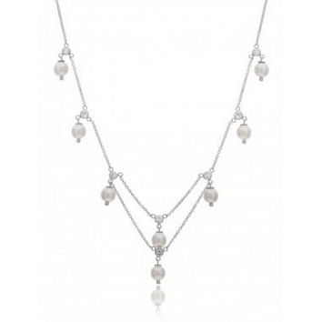 """The """"Holly"""" White Pearl Bridal CZ Necklace Earring Silver Metal"""