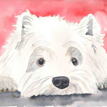 Westie Painting, Westie Watercolor, West Highland Terrier, Dog Watercolor, Dog Art, Print, 8x10, Dog Painting, Pet Portrait, Westie Portrait
