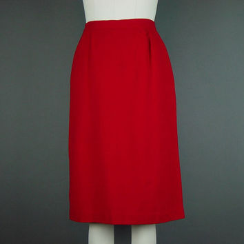 "60s 70s Red Skirt Straight Crepe Vintage Lined Career Dress Work W 26"" H 28"""